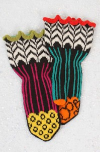 Jaunty mitten pattern in black